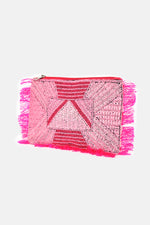 Bead Pattern Front Fringed Small Clutch
