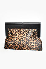 Timber Frame Hide & Vegan Suede Clutch (Leopard/Black)