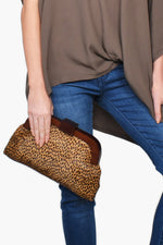 Timber Frame Hide & Vegan Suede Clutch (Cheetah/Chocolate)