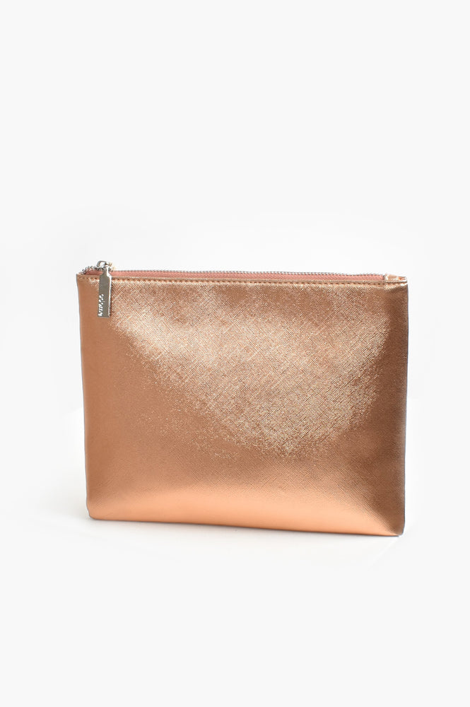 Textured Metallic Pouch (Rose)