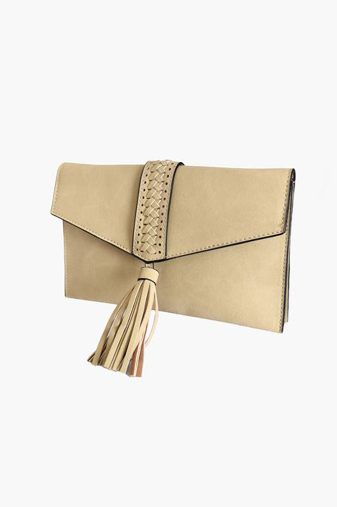 Tassel & Plait Front Fold Over Clutch (Stone)