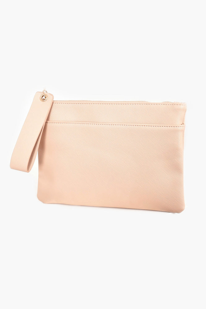 Textured Pocket Front Pouch (Nude)