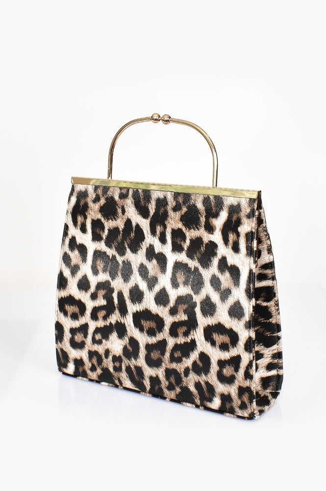 Metal Arch Handle Structured Purse Bag (Leopard)