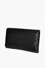 Chain Mesh Fold Over Rectangle Clutch (Black)