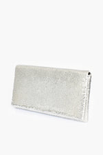 Chain Mesh Fold Over Rectangle Clutch (Silver)