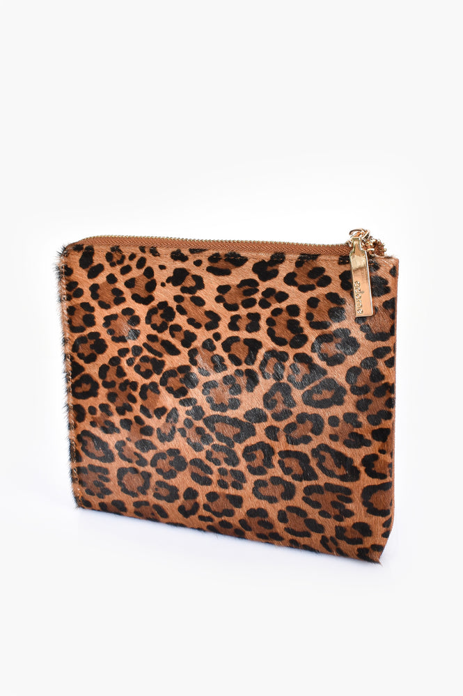 Hide Zip Around Pouch (Leopard/Camel)