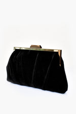 Pleated Velvet Frame Clutch (Black)