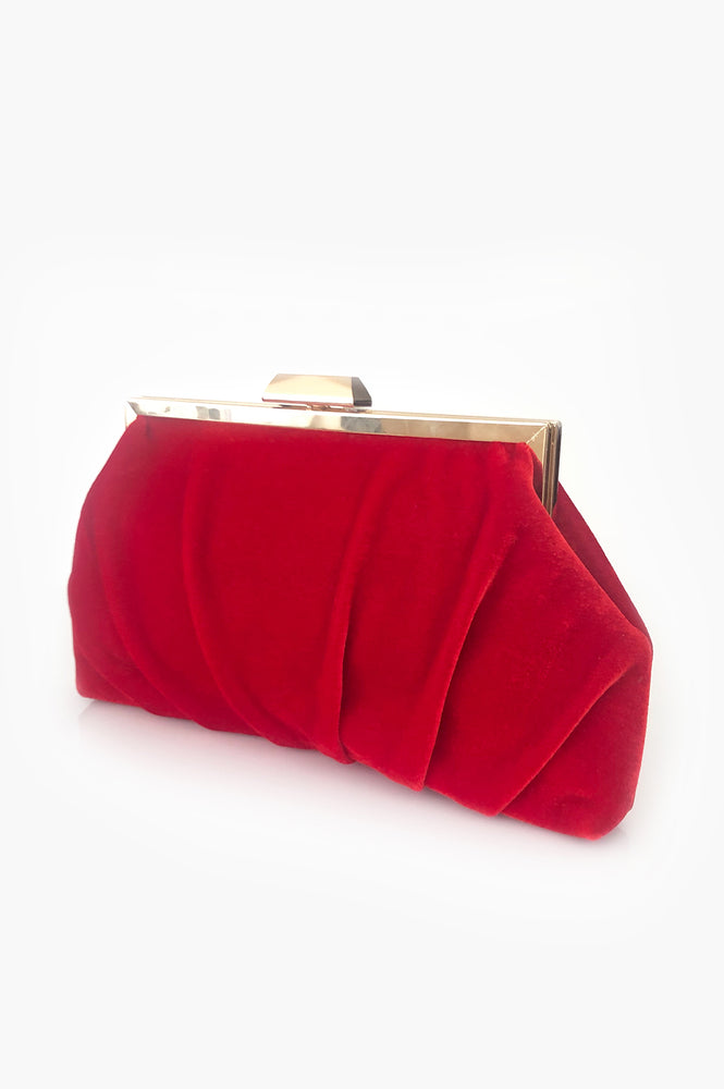 Pleated Velvet Frame Clutch (Red)