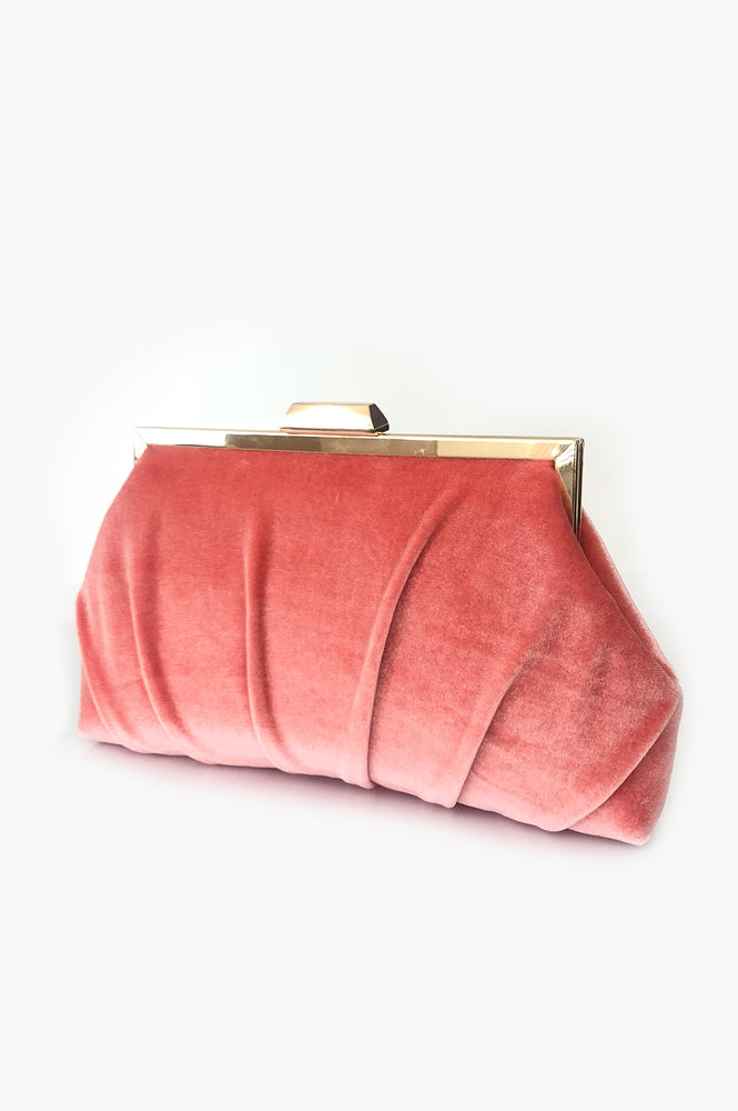 Pleated Velvet Frame Clutch (Warm Coral)