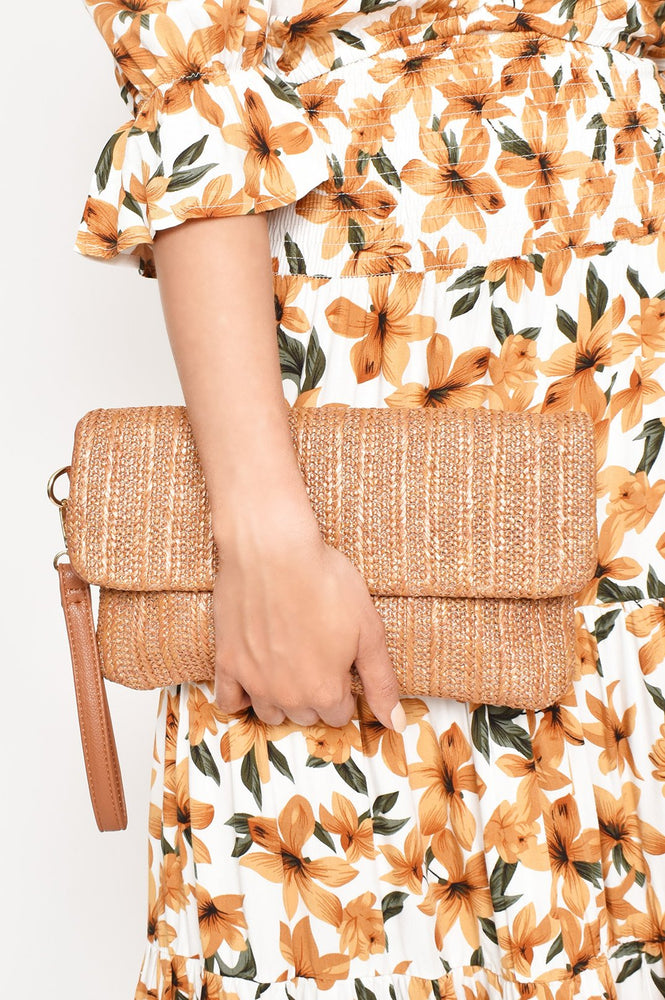Fold Over Woven Wrist Strap Clutch (Tan)