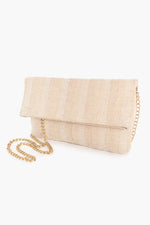 Fold Over Woven Clutch (Cream)