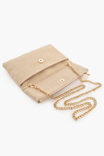Mini Fold Over Woven Clutch (Cream)