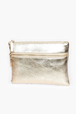 Aged Metallic Double Zipper Pouch (Gold)