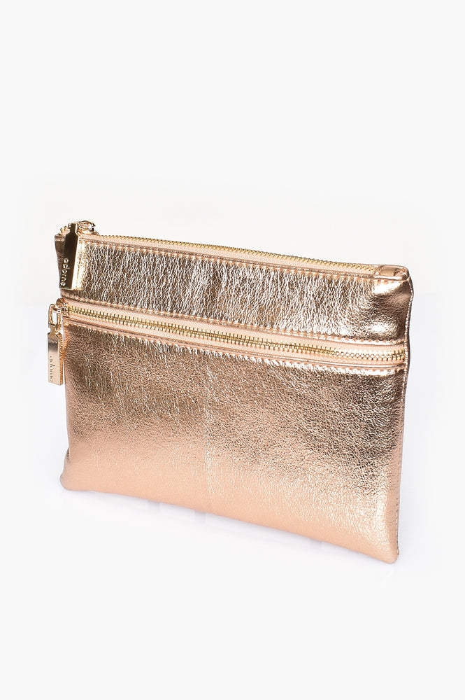 Aged Metallic Double Zipper Pouch (Rose)
