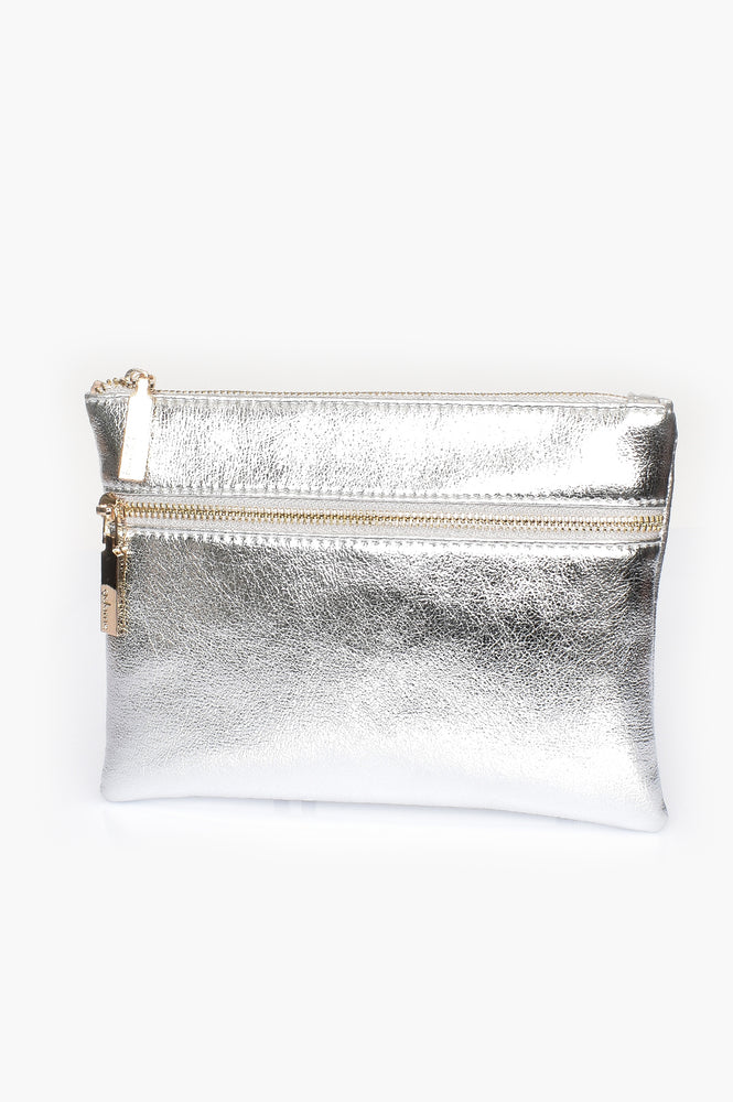 Aged Metallic Double Zipper Pouch (Silver)