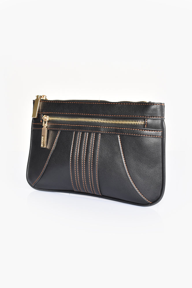 70s Stitch Detail Zip Top Pouch (Black)
