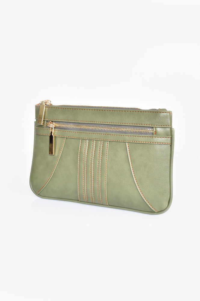 70s Stitch Detail Zip Top Pouch (Moss)