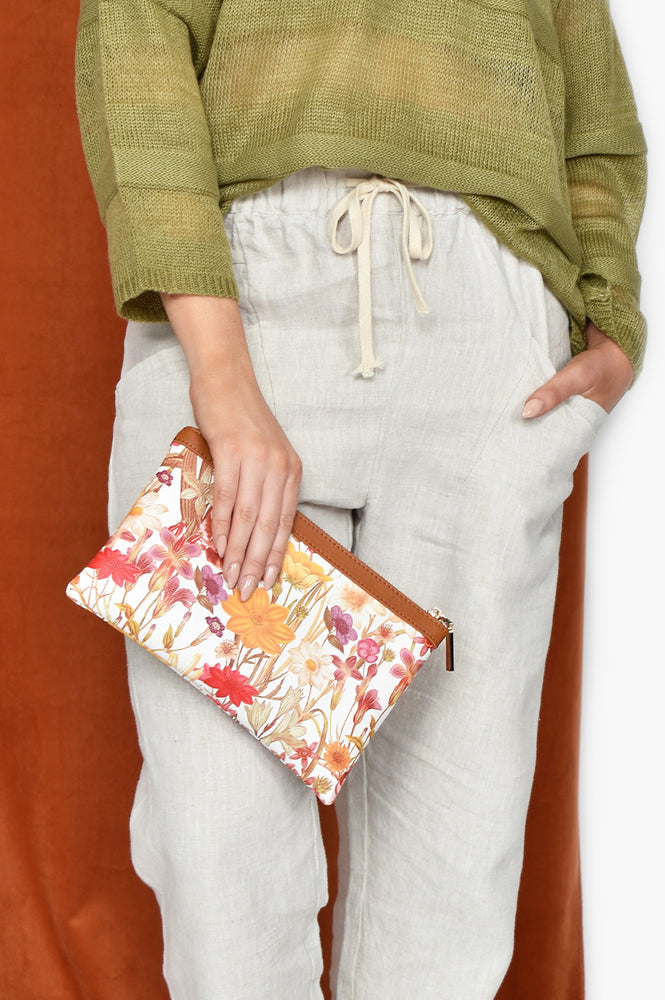 70s Floral Trim Clutch (Tan/Multi)