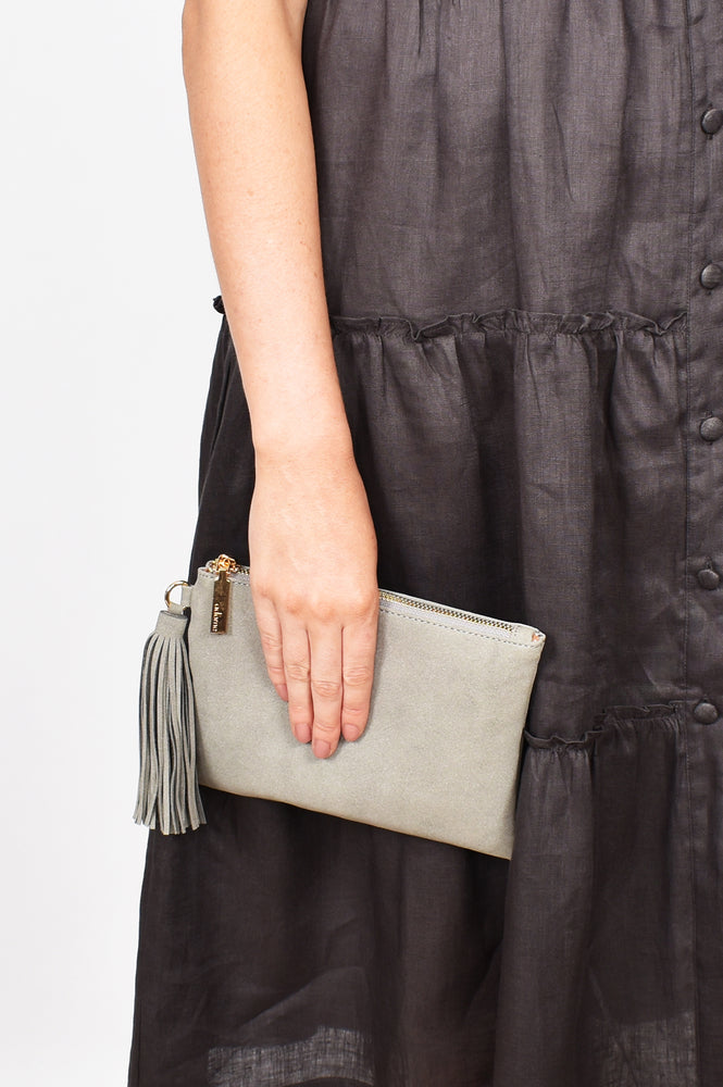 Briony Faux Suede Tassel Pouch (Grey)