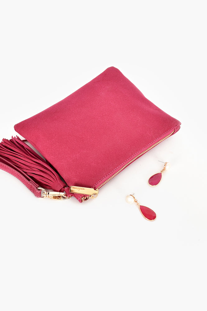 Briony Faux Suede Tassel Pouch (Magenta)