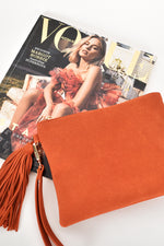 Briony Faux Suede Tassel Pouch (Orange)