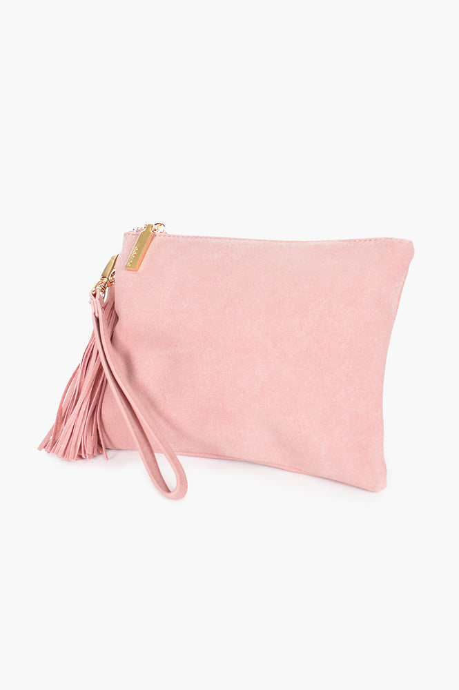Briony Faux Suede Tassel Pouch (Pink)