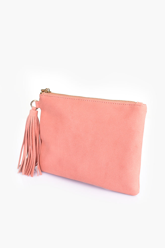 Faux Suede Tassel Pouch (Coral)