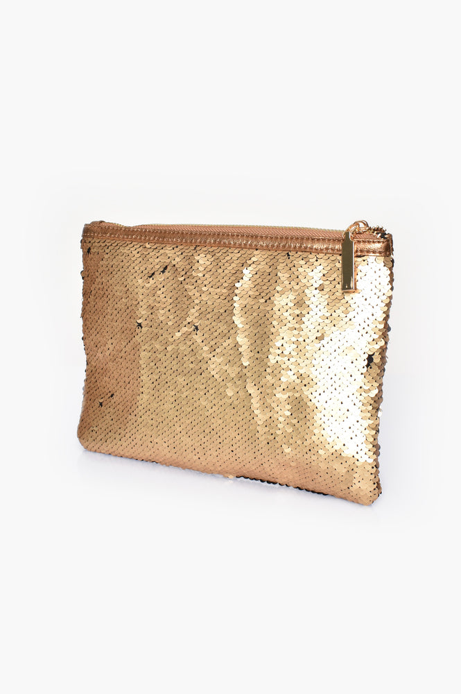 Two Tone Sequin Pouch (Black/Gold)
