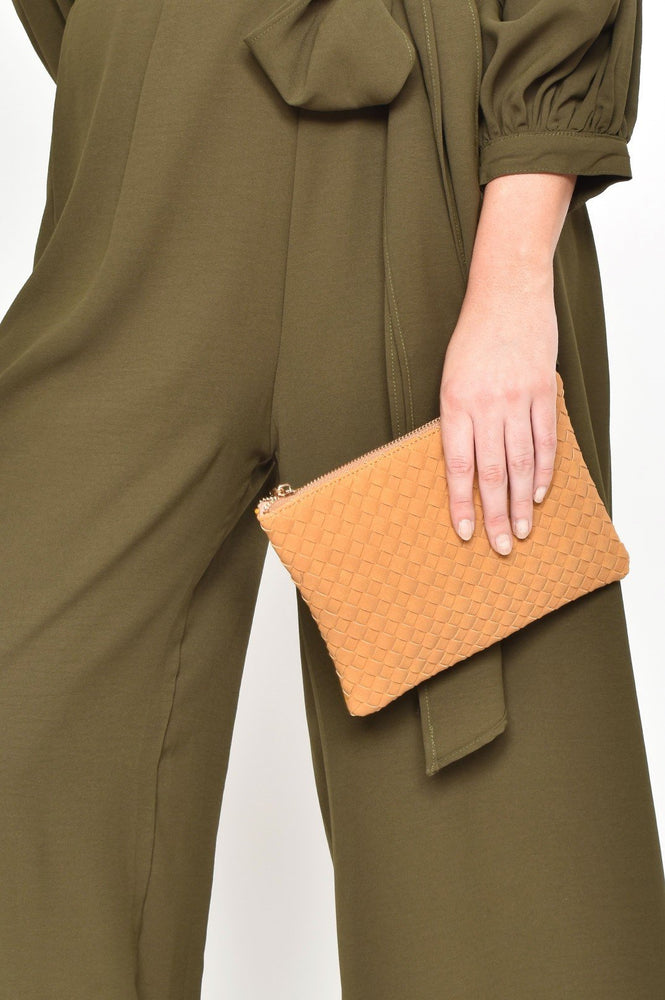 Faux Suede Weave Pouch (Mustard)