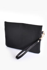 Weave Suede and Reptile Pouch (Black)