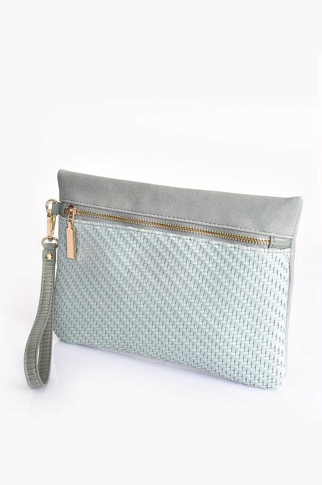 Weave Suede and Reptile Pouch (Moss)