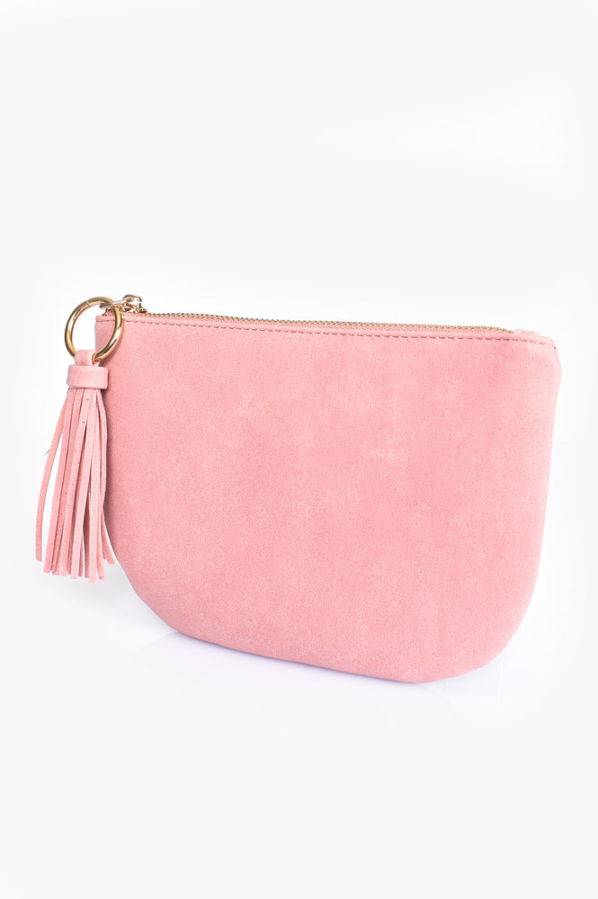 Faux Suede Curved Pouch (Pink)
