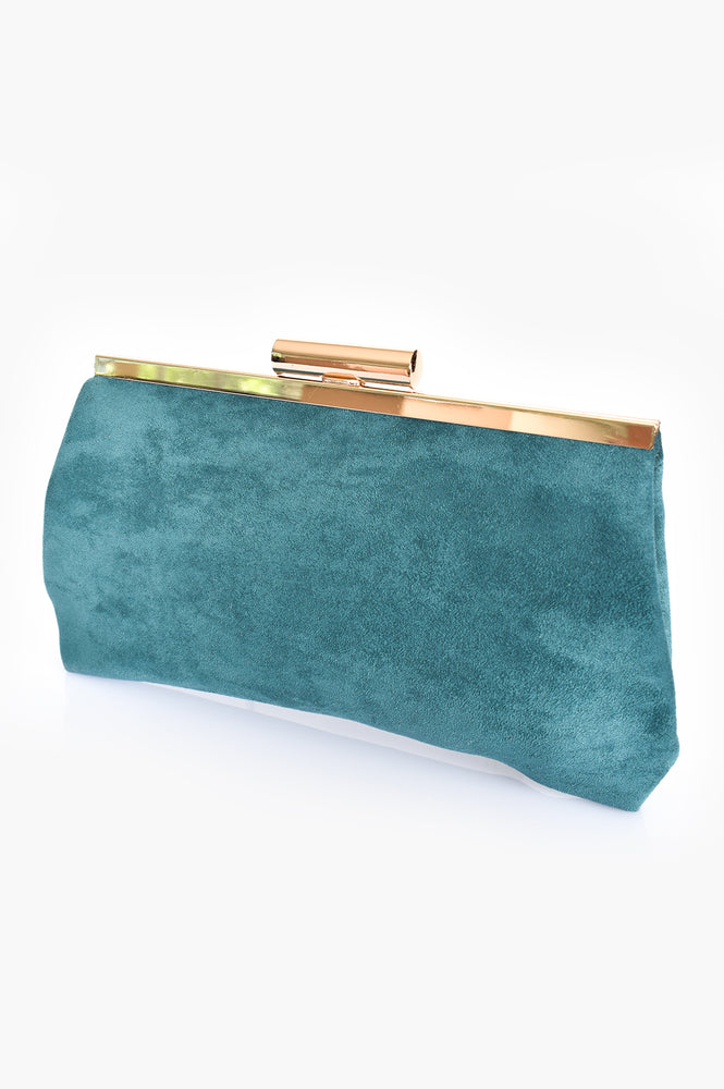 Clip Top Micro Suede Frame Clutch (Teal)