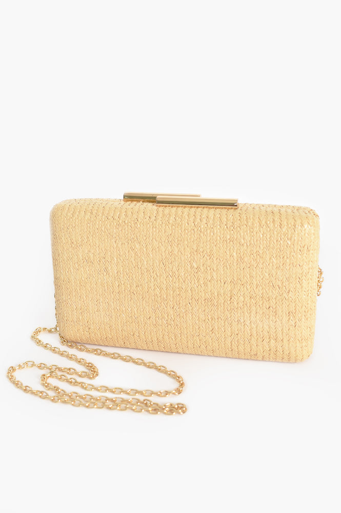 Faux Weave Hardcase Clutch (Natural)