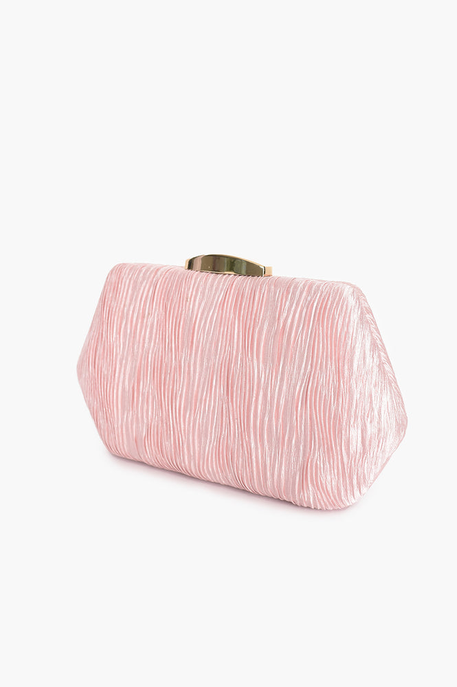 Textured Ripple Hardcase Clutch (Pink)