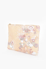 Zip Top Sequin and Embroidered Clutch (Pastel Pink)