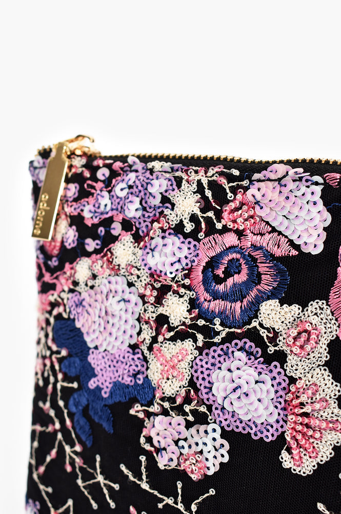 Zip Top Sequin and Embroidered Clutch