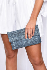 Multi Weave Denim Fold over Clutch (Denim)