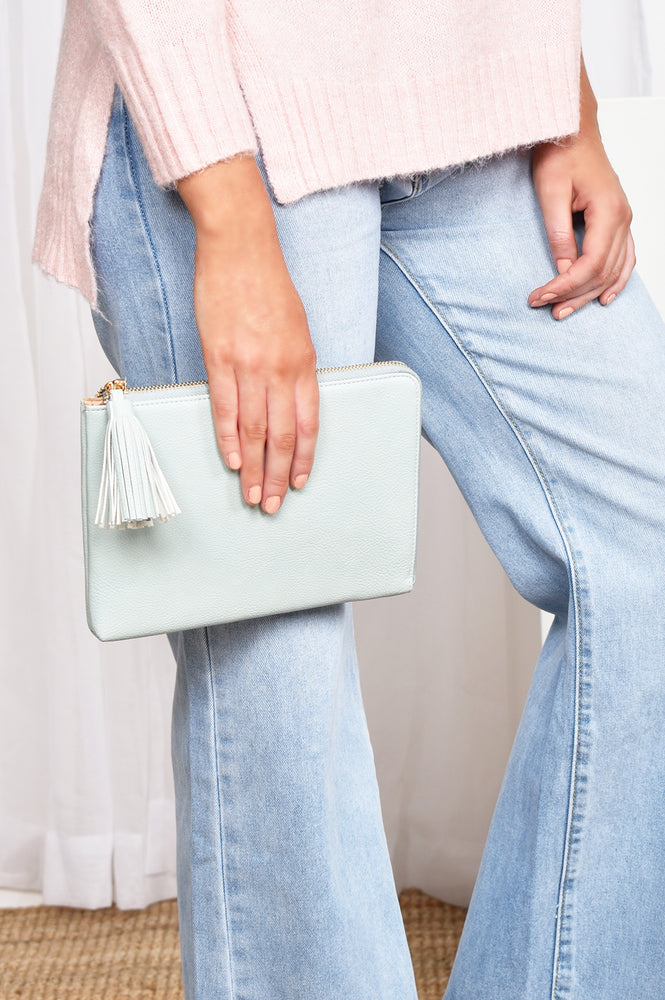 Zip Around Tassel Pouch (White)