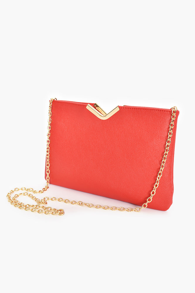 Textured V Detail Clutch (Red)