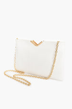 Textured V Detail Clutch (White)