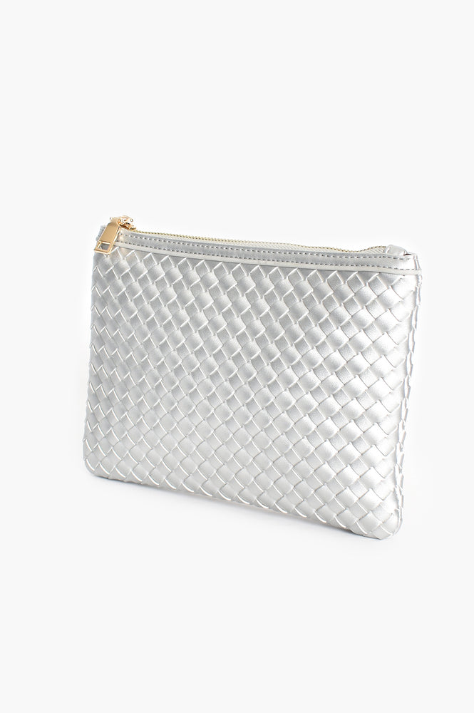 Metallic Plait Zip Top Clutch ( silver)