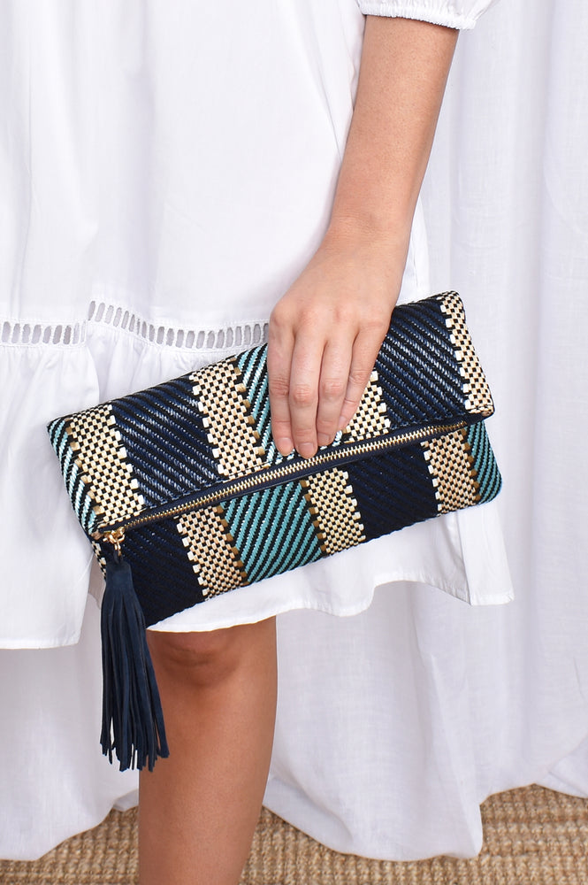 Fold Over Stripe Weave Clutch Tassel (Blue/Black)
