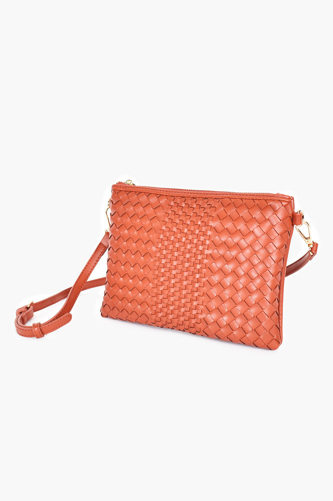 Mixed Plait Zip Pouch with Chain Handle (Brick)