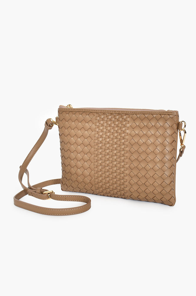 Mixed Weave Zip Pouch with Ling Strap (Mocha)
