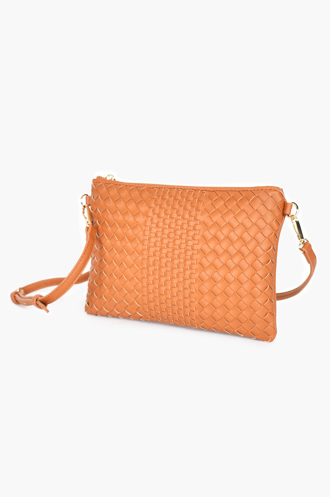 Mixed Plait Zip Pouch with Chain Handle (Toffee)