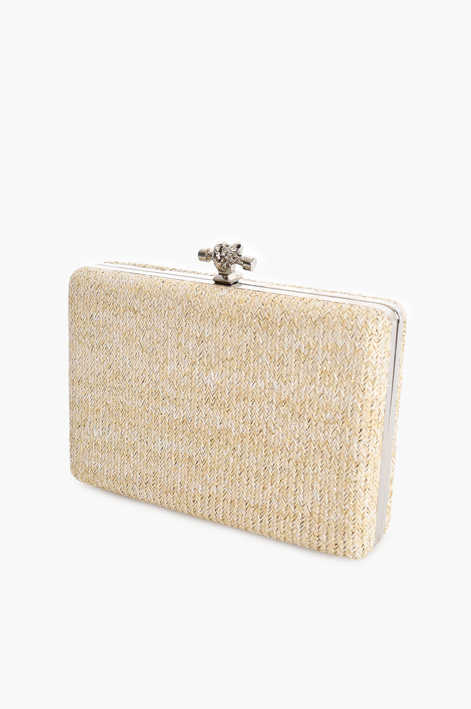 Weave Gold Fleck Hard Clutch (White)