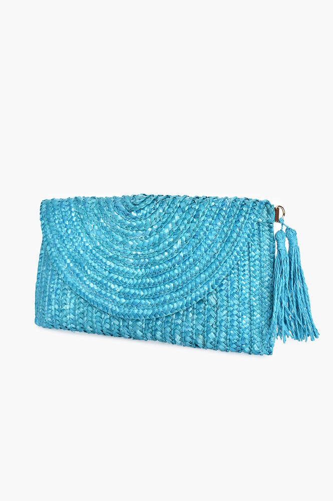 Curved Flap Over Straw Clutch (Blue)