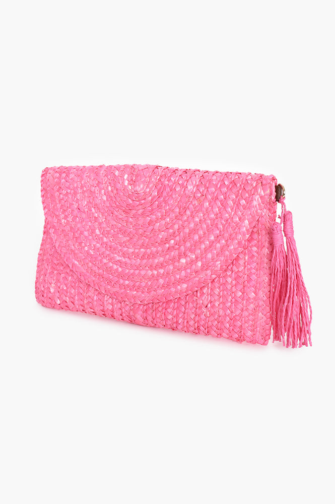 Curved Flap Over Straw Clutch (Pink)