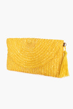 Curved Flap Over Straw Clutch (Yellow)
